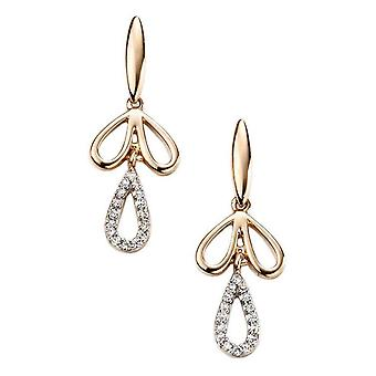 Elements Gold Diamond Moreish Drop Earrings - Gold/Clear