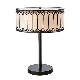 1900 des intérieurs Fargo Cylinderical Amber et lampe de Table Tiffany en Bronze