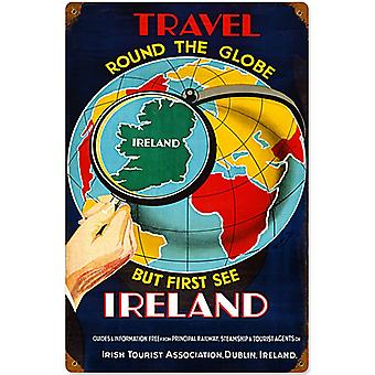 Travel The Globe Ireland Large Rusted Metal Sign 460Mm X 300Mm