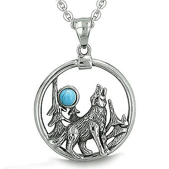 Amulet Medallion Howling Wolf Moon Forces of Nature Protection Turquoise Pendant Necklace