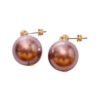 Gemshine - gota - pendientes - grano - rosa malva - mujer - dorado - 11 mm