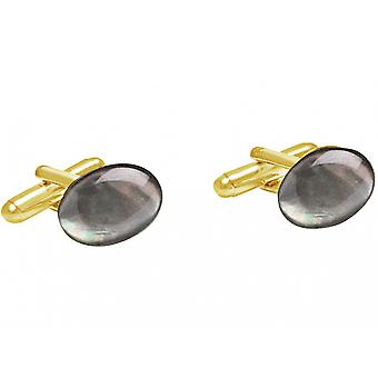 Gemshine - cufflinks - gold plated - mother of Pearl - gray - 16 mm