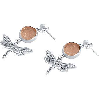 Gemshine - Damen - Ohrringe - Libellen - 925 Silber ––- DRUZY - Rose Quarz - 4 cm
