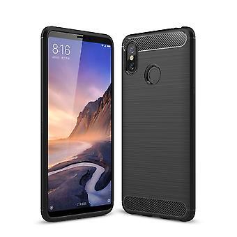 Xiaomi Mi Max 3 TPU Case Carbon Fiber Optik Brushed Schutz Hülle Schwarz