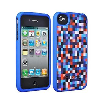 5 Pack -Speck Fitted Hard Case with Fabric for Apple iPhone 4 / 4S (Pixel Party Blue/Red)