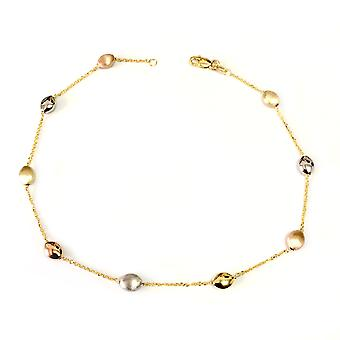 14K Yellow White And Rose Gold Charms Fancy Anklet, 10