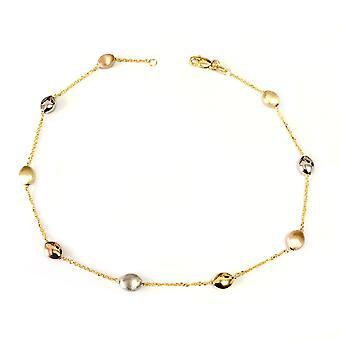 14k bianco giallo e rosa Charms in oro fantasia cavigliera, 10