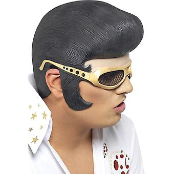Elvis Presley half mask original LaTeX mask wig adult