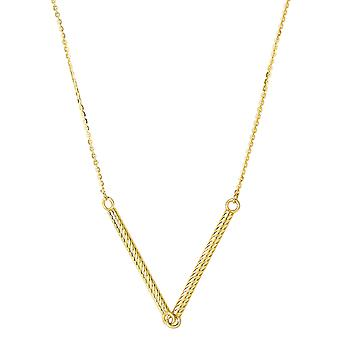 14k Yellow Gold Cylinder Bar Pendant Necklace, 18