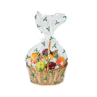 Single Clear Holly & Berry Print Cellophane Basket Bag for Hampers