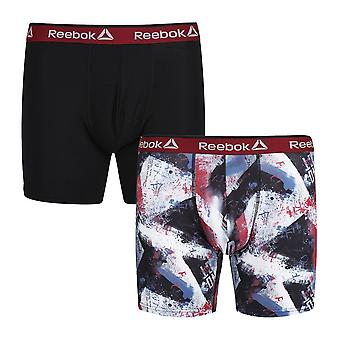 Reebok Gym Men's 2 Pack Performance Sports Boxer Trunks Black Red Charlie