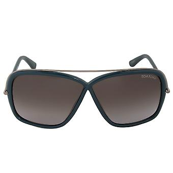 Tom Ford Brenda Sonnenbrille FT0455 96 P | Dark Green/Rotguss Frame | Graue Linse