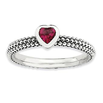 2.25mm Sterling Silver Bezel Rhodium-plated Antique finish Stackable Expressions Polished Created R Heart Ring - Ring Si