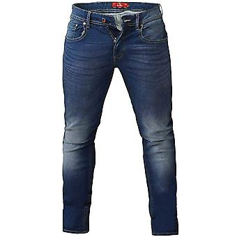 D555 Mens Ambrose Big Tall King Size Tapered Fit Stretch Jeans Trousers - Denim