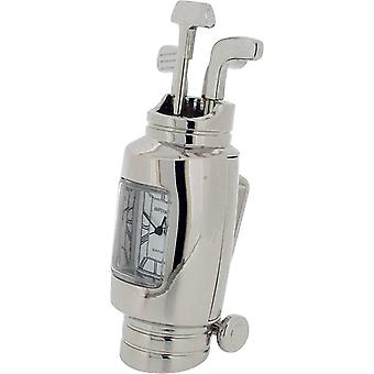 Gift Time Products Golf Bag and Clubs Miniature Clock - Silver
