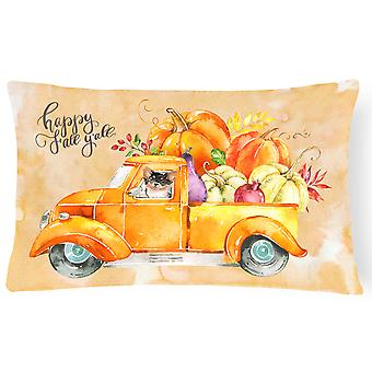 Fall Harvest Long Haired Chihuahua Canvas Fabric Decorative Pillow