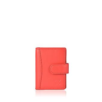 Leather Multi Credit Card Holder in Red