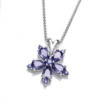 Cavendish franska Silver och Tanzanite CZ blomma hänge utan kedja