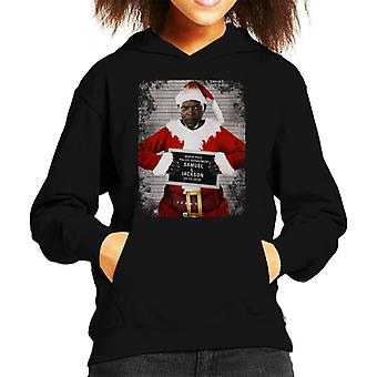 Christmas Mugshot Samuel L Jackson Kid's Hooded Sweatshirt