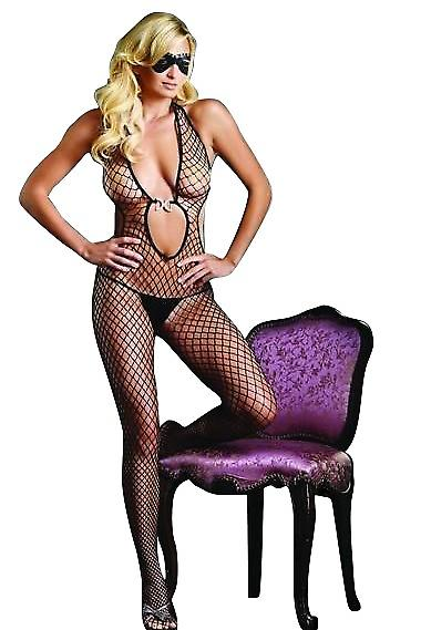 Waooh 69 - Ultimate Combination Large Mesh Stockings And Black Open