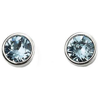 Beginnings March Swarovski Birthstone Earrings - Silver/Blue