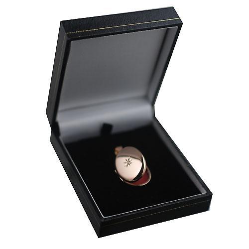 9ct Rose Gold 27x20mm diamond star set oval Locket