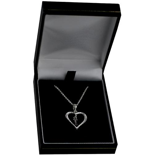 Silver 18x18mm initial T in a heart Pendant with a rolo Chain 16 inches Only Suitable for Children
