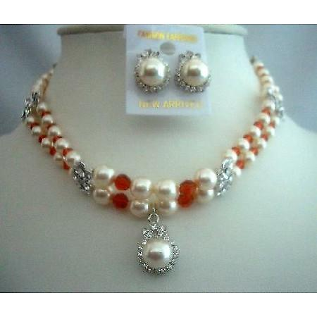 Bridal Party Jewelry Double Stranded Wedding Pearls Crystals Necklace