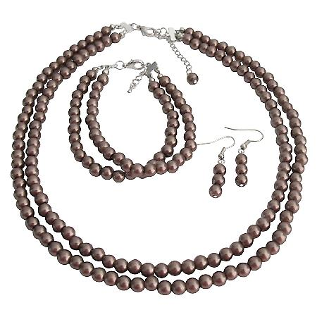 Brown Jewelry Complete Necklace Earrings And Bracelet