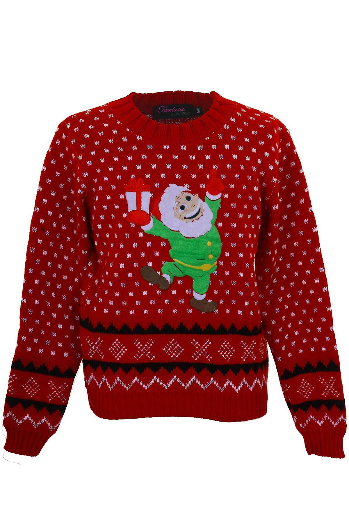Children's Knitted XMAS Christmas Festive Santa Snow Girls Aztec Sweater Jumper