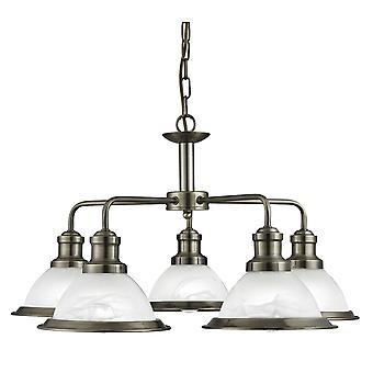 Bistro antik mässing fem ljus hängsmycke med syra glas - Searchlight 1595-5AB