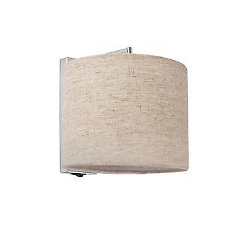 Faro - Sahara Chrome Wall Light met Beige schaduw FARO62705