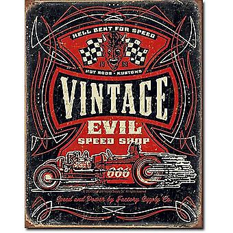 Vintage Evil Speed Shop metall skylt (de)