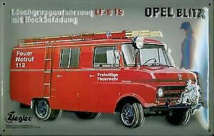 Opel Blitz Fire Engine German embossed steel sign