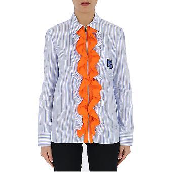 Camisa de algodón azul de luz Prada