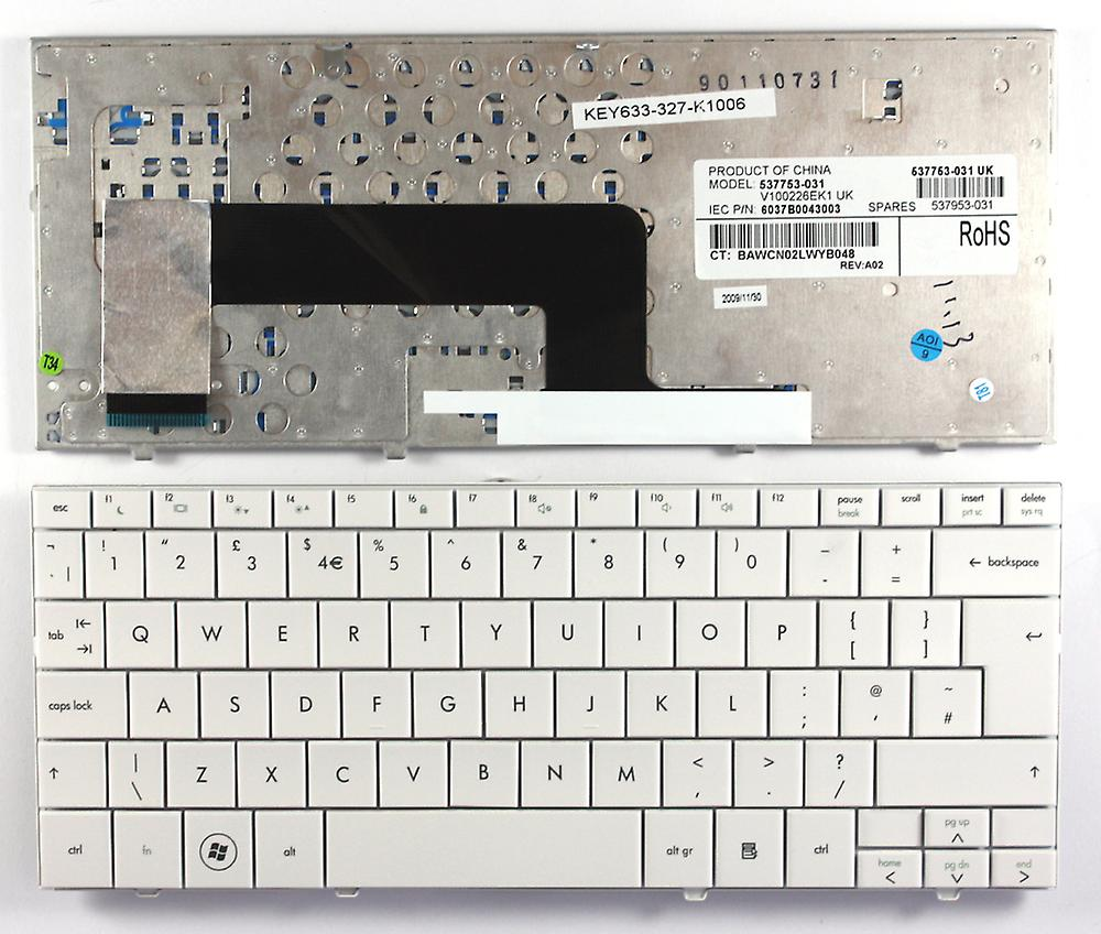 HP Mini 110-1007TU blanc UK Layout remplacement clavier d'ordinateur portable