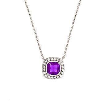 Bertha Juliet Collection Women's 18K WG Plated Purple Cushion Halo Fashion Necklace
