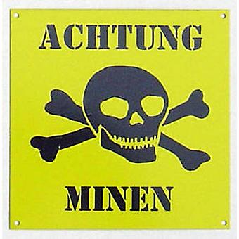 Achtung Minen Enamelled Steel Wall Sign