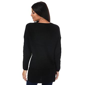 Womens Only Blocky Colourblock Longline Jumper In Black