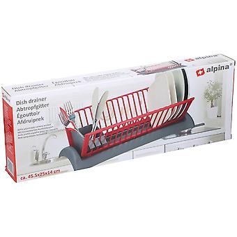 Égouttoir à vaisselle avec plateau et couverts section drainant compact Space Saver46x26x14