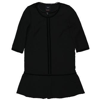 Maison Scotch Black Dropped Waist Peplum Dress