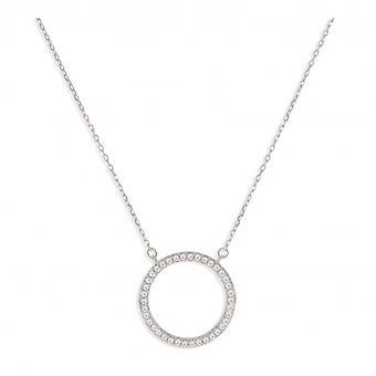 Rhodié Circle Silver Halsband med 45cm zirkonium kubik