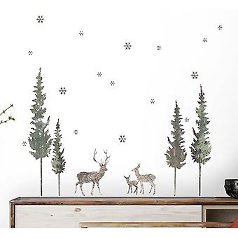 Stag & forest wall decal set (green)