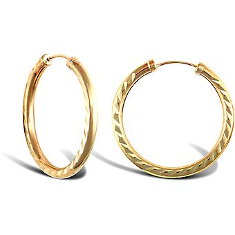 Jewelco London Ladies 9ct Yellow Gold Diamond Cut Capped Sleeper 2.5mm Hoop Earrings 25mm
