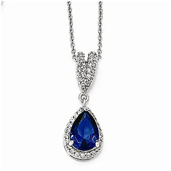 925 Sterling Silver Simulated Rhodium-plated Fancy Lobster Closure Cubic Zirconia Synthetic Blue Spinel Pear Shaped Neck