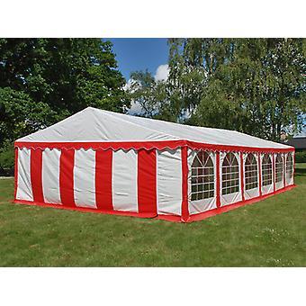 Tente de réception Exclusive 6x12m PVC, Rouge/Blanc