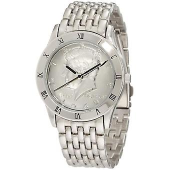 August Steiner tone men's watch-bracelet, silver Kennedy Half Dollar