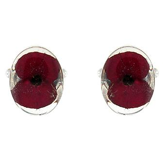 Shrieking Violet Sterling Red Poppy Real Flowers Oval Cufflinks