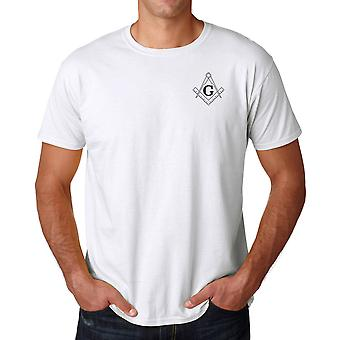 Freemasons G Gnosis Square And Compass Embroidered Logo - Ringspun Cotton T Shirt