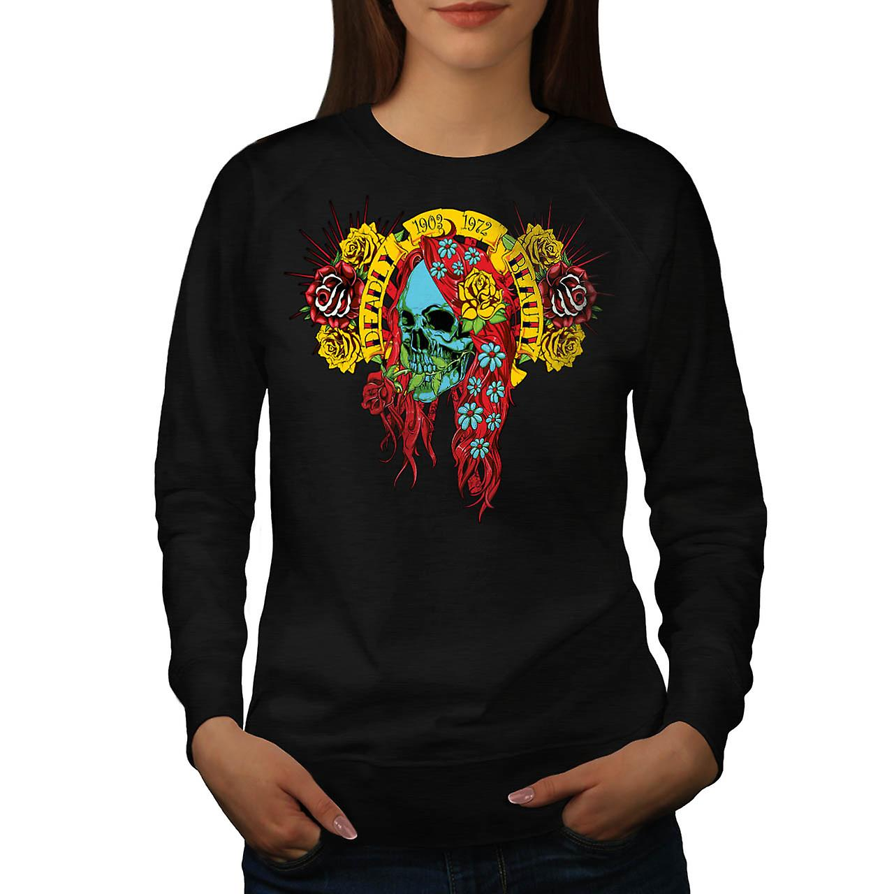 Deadly Beauty Rose Skull Women Black Sweatshirt | Wellcoda